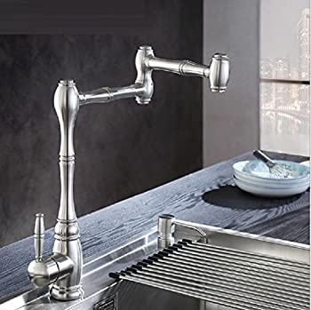 Amzh Kitchen Taps Stainless Steel Sink Faucet Vegetable Bowl Hot & Cold Single Hole Water Tap 360 Degree Rotation 0