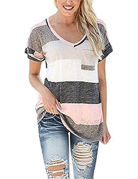 Camiseta de Mujer de Manga Corta con Cuello EN V Verano Causal Tops Multicolor de la Raya Tops Algodón Blusa Túnica