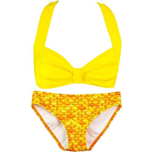 Fin Fun Mermaid - Mädchen Bikini-Set im Muschel-Design - Mermaidens Bademode - Tropischer Sonnenaufgang/Gelb - Mädchen 9 - 10 Jahre