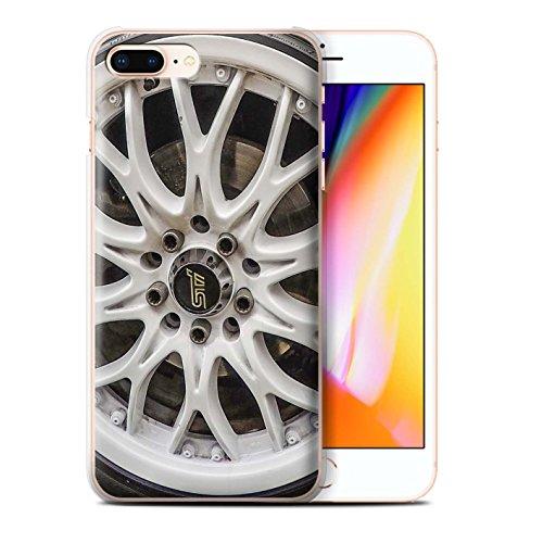 Stuff4 Hülle / Case für Apple iPhone 7 Plus / Silber/Rot Muster / Leichtmetallfelgen Kollektion Weiß