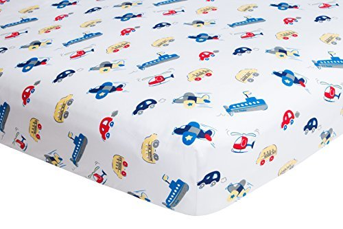 Crib Sheets, Fitted - Planes Cars Boats by Frenchie Mini Couture