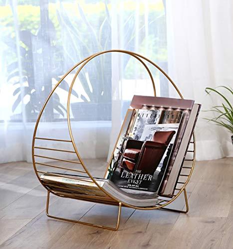 SH-shujia Nordisches einfaches Schmiedeeisen-Zeitschriften-Gestell kreatives Tischplatten-Zeitschriften-Gestell-kleines Bücherregal (Farbe : Gold)
