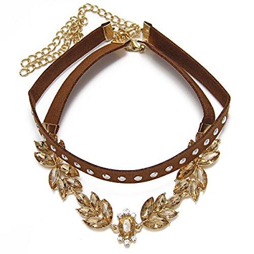 ppelt Samt Halskette Legierung Diamant-Halskette Frau,Brown-OneSize (Western Perlenketten)