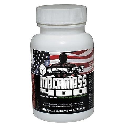 BBGenics, MacaMass 400, Testo-Booster, integratore anabolico per lo sviluppo del muscolo su una base di Maca Andina, 60 Caps