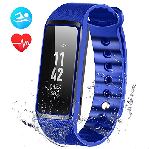Fitness Tracker with Heart Rate Monitor, OMorc 3ATM Waterproof 24-Hour Auto Activity Wristband Bracelet , Smart Bracelet with Walking and Running Pedometer, Sleep Monitor Calories Counter for iOS Android Smartphones (Weloop)-Blue