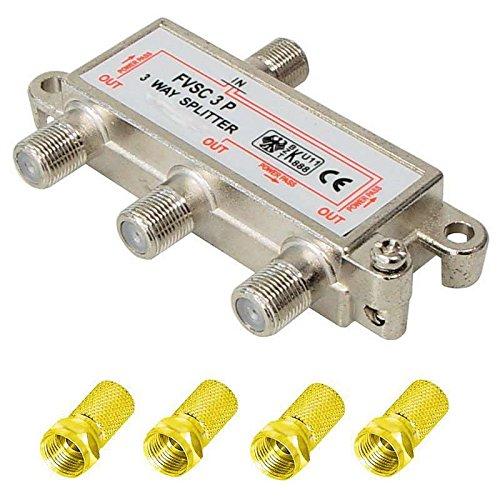 3-fach Verteiler/Splitter inkl. 4 vergoldete F Stecker; für Sat, Kabel TV, DVB T und UKW; HDTV; Metall-Gussgehäuse