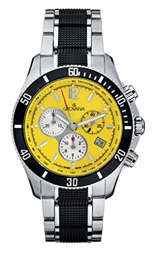 GROVANA 1615.9176 Men's Quartz Swiss Watch with Yellow Dial Chronograph Display and Silver Stainless Steel Bracelet