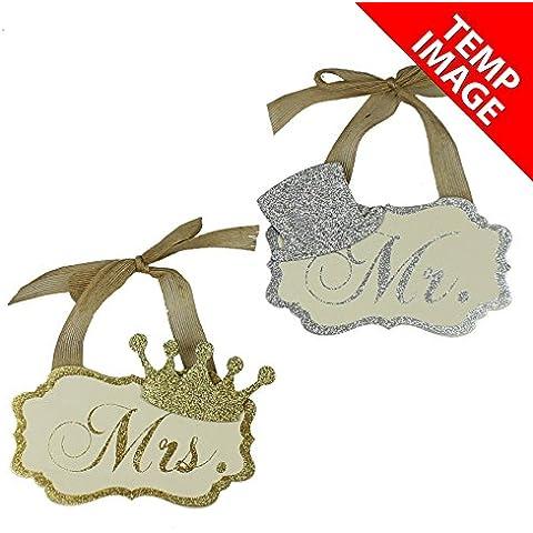 Weddings Direct-Amore-Targa da parete, motivo: Coppia di decorazioni Glitter, colore: oro con diadema 'Mrs'& 'Mr'con cappello, colore: argento, confezione da 2 pezzi, ideale per matrimoni e decorazioni per la