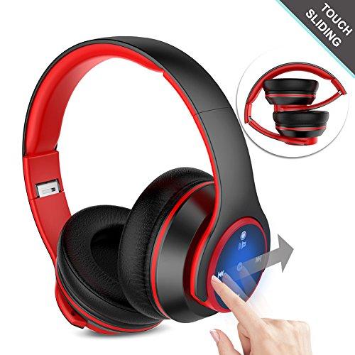 Navtour Bluetooth Kopfhörer Over Ear Headset Wireless Bluetooth 4.1, On-Ear Touch Steuerung, Rauschunterdrückung, Eingebautes Mikro CVC 6.0, 3,5 mm AUX, Zusammenklappbarer Kopfhörer für ios Android