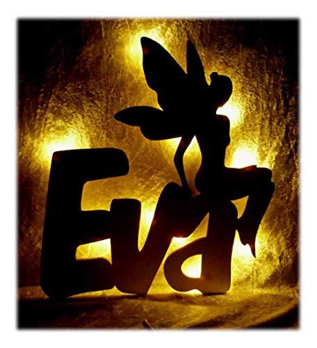 """Schlummerlicht24 3d Led Nacht-Licht\""""Elfe Fee-Motiv Design\"""", Geschenk mit Namen, ideal als Kinder-Zimmer Schlaflicht"""