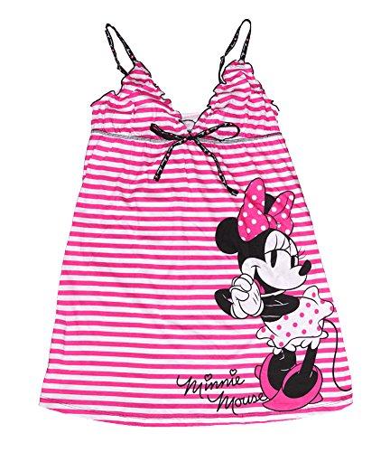 Minnie Mouse Damen Pyjama Nachthemd T-Shirt - gestreiften Print - Pink (Pyjama Pink Gestreiften)