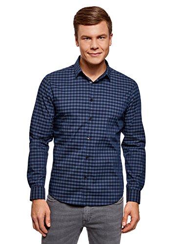 Oodji ultra uomo camicia slim fit a quadri, blu, 42cm/it 50/eu 42/l