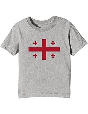 Georgia Nacional Bandera Niños Unisexo Niño Niña Camiseta Cuello Redondo Gris Manga Corta Todos Los Tamaños Kids...