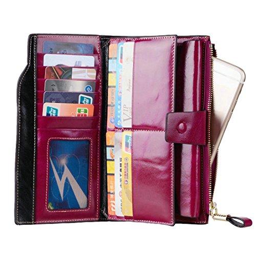 Vintage Geldbörse, Canvalite Elegant Unisex Damen Herren multifunktional Portemonnaie mit Kartenhalter, Rindsleder, lang für Freizeit Reise Business lila