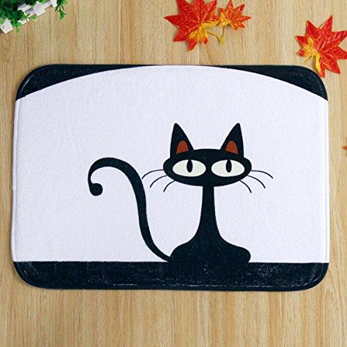 Bluelover Tappeto Zerbino da 40x60cm corallo del panno morbido gatto nero modello pavimento antisdrucciolo tappetino bagno cucina camera da letto