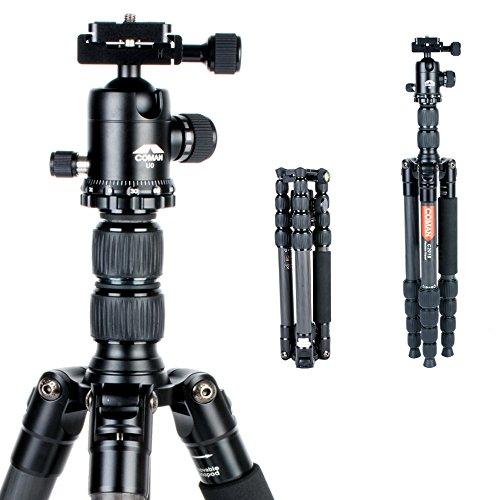 Treppiede Professionale in Fibra di Carbonio Monopiede 56,7 pollici Compatto per Viaggi Con Testa a Sfera da 360 Gradi per Canon Nikon Sony Videocamera DSLR e video C2016