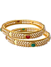 JFL - Traditional & Ethnic One Gram Gold Plated Bangles Set For Girls And Women