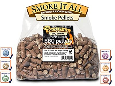 SMOKE IT ALL BBQ Grill Pellets Räucherpelltes Buchenholz 1,0 kg für Grill od. Räucherofen; 61200
