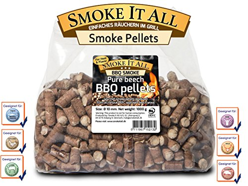 Smoke it all bbq grill pellets raeucherpelltes in legno di faggio 1,0 kg per barbecue o camino; 61200