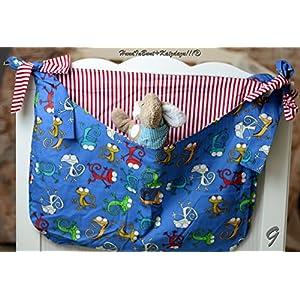 Betttasche Chamäleon, blau, rote Streifen, Utensilo, Laufstalltasche aus Baumwolle