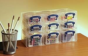 REALLY USE BOX Organiseur 9 boîtes + étagère transparent incolore recyclé