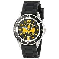 ساعة يد باتمان تناظرية للأطفال مع غلاف بلون فضي، حافة سوداء، حزام أسود - شعار باتمان الأصفر/أسود على القرص، ساعة مدرس الوقت، آمنة للأطفال - الطراز: BAT9152