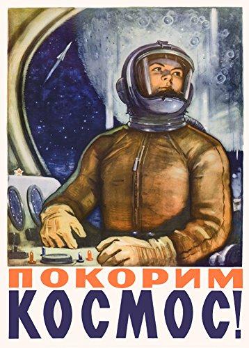 Poster Vintage-Stil Sowjetunion Propaganda Raumfahrt, russischer Text (Die kreativen Ressourcen des Sozialismus sind grenzenlos), 1959, 250g/m², Kunstdruck, glänzend, A3, Reproduktion