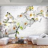 decomonkey | Fototapete Blumen Steinwand Stein 300x210 cm XL | Tapete | Wandbild | Wandbild | Bild | Fototapete | Tapeten | Wandtapete | Wanddeko | Wandtapete | Orchidee Ziegel Pflanzen Weiß gelb