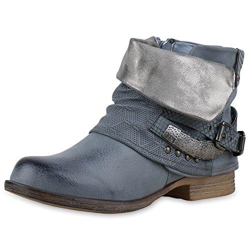 Damen Stiefeletten Biker Boots Nieten Schnallen Lederoptik Blau Silber