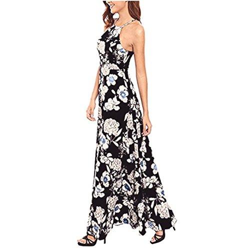 Damen Kleider ,feiXIANG Damen Sommer Lange Maxi Kleid (XL, Schwarz)