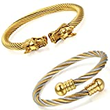 Aroncent 2 PCS Herren Damen Armband, Elastische Verstellbare Drachen Kugel Armreif, Poliert Edelstahl Verdrehten Stahlkabel Armschmuck, Gold Silber