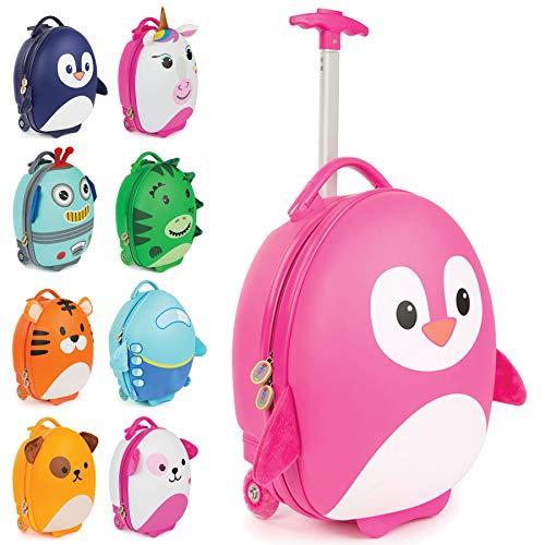 Boppi Tiny Trekker Leichter Kinderreisetrolley zum Ziehen mit Rädern in Handgepäckgröße (17 Liter Fassungsvermögen) - Pinguin Rosa