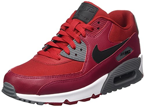 Nike Herren Air Max 90 Essenziale Marciume Low-top (palestra Redblacknoble Redcool Grigio)