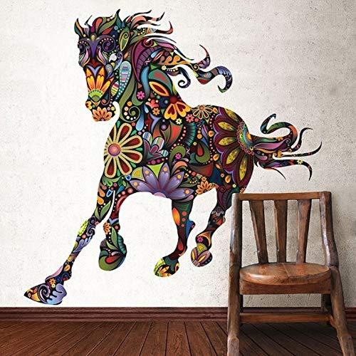 60X90Cm Autocollant Mural Cheval De Fleur Décor À La Maison Chambre Art Art Décor À La Maison Salon Sticker Mural - Schwarz Cheval Spiegel