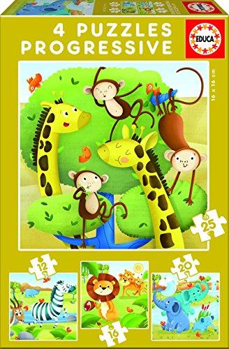 Educa Borrás - Animales Salvajes, set de 4 puzzles progresivos de 12, 16, 20 y 25 piezas (17147)