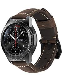 084ba7b76e5b MroTech Correa de Reloj de Cuero 22mm Liberación Rápida Pulsera de Repuesto  Compatible para Samsung Gear