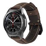 MroTech Ersatzband für Gear S3 Armband Leder, Lederarmband Echtes Vintage Leather Band 22mm Uhrenarmband Armband für Samsung Gear S3 Frontier/Classic, Fossil Herren, LG Smartwatch (Dunkelgrau, S/M)