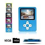 Btopllc Lettore MP3,lettore MP4 16GB,lettore di musica digitale MP3/MP4 Player classico ricaricabile/lettore multimediale/lettore audio/lettore multimediale - blu