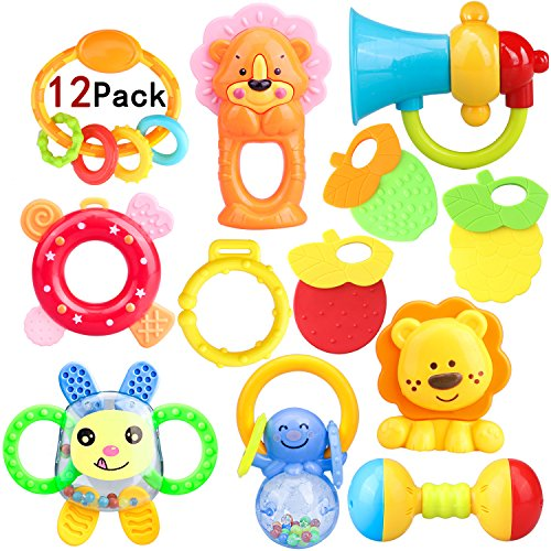 ZesGood 12Pack Baby Toys Rattles Baby Teething Toys, Ball Shaker, Grab and Spin Rattle, Musical Toy Gift Set for Baby Infant, Newborn 51hlSaqLPrL