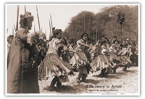 Hawaiian Hula Dance in Action - Vintage Hawaiian Real Photo Postcard by Ray Jerome Baker c.1930s - Hawaiian Master Art Print - 13 x 19in - Foto Cartolina Postale