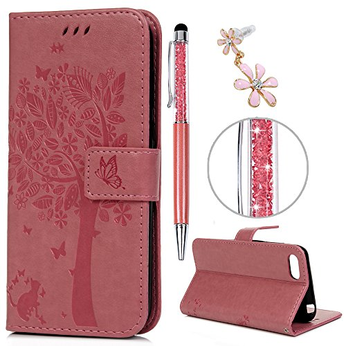 iAdvantec Huawei Y5 2018 Hülle Case, Filp PU Leder Wallet Handyhülle Flipcase : Bookstyle Großer Baum Tasche Brieftasche Schutzhülle in Rosa + Anti Staub Stöpsel + Stylus
