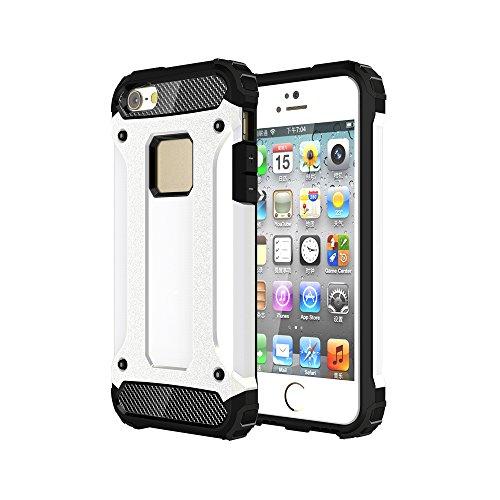 iPhone 5 &5S &SE Custodia, 2-in-1 Cases Protettivo Estrema Assorbimento-Urti Armatura Cover Per iPhone 5 &5S &SE. (Rosso) Bianco