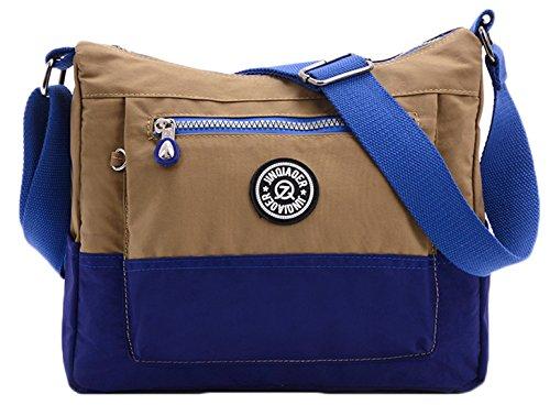 SK Studio Damen Messenger Tasche Dichtes Nylon Sport Bunt Schultertasche Mit Zip-Taschen Umhängetaschen Freizeit Khaki