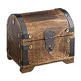 Casa Vivente - Coffre au trésor avec Armatures métalliques - Coffret Rustique et Vintage - Boîte à Bijoux - Tirelire - Boîte de Rangement en Bois foncé - Grande Taille : 14 x 11 x 13 cm