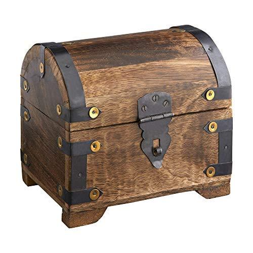 Casa Vivente Holztruhe - Bauernkasse - Dunkles Holz - Groß - Geldschatztruhe - Schmuckkästchen - Spardose - Aufbewahrungsbox aus Holz - Verpackung für Schmuck-Geschenke - Geschenkidee zum Geburtstag -