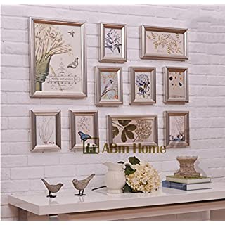 ABM Home RD10 Champagne Multi Picture Frame Set, Photo Frame, Wall Frame Set with 10 High Quality Frames, Large photo frame wall set, Best Wall Decorations, Vintage Picture Frames (RD10 Champagne)