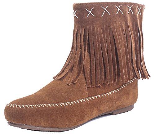 AgeeMi Shoes Damen Slip On Rund Zehe Wildleder Flache Quaste Kurzschaft Stiefel,EuX38 Braun 39