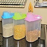 #10: Klaxon Dispenser Jar - Kitchen Storage Box Lid / Food Rice Grain Container / Tub Dry Bin- 3 Pcs (Pink, Blue, Green) - 2500 ml