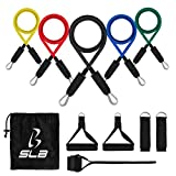 Resistance Bands Set, SLB Exercise Bands with Handles, Home & Gym Strength Training Tubes, Fitness Bands for Men/Women, Workout Bands for Shoulder, Arm and Leg, Resistance Loop Bands for Pilates, Yoga, Physical Therapy, Rehab & Improving Mobility