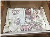 Baby Überraschungs Set Mädchen Junge, Geschenkset, erstausstattung set, box, strass schnuller, strass flasche, 12 Teilig, geschenk geburt, taufe, weihnachten, baby luxus set (Rosa)